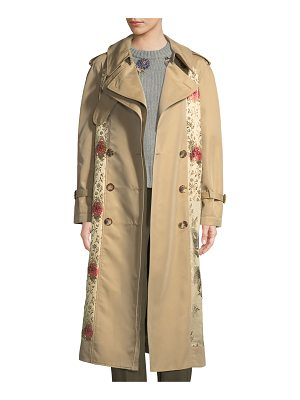 Alexander McQueen Double-Breasted Brocade Patched Long Trench Coat