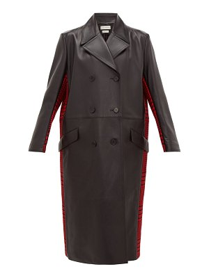 Alexander McQueen double breasted checked wool and leather coat