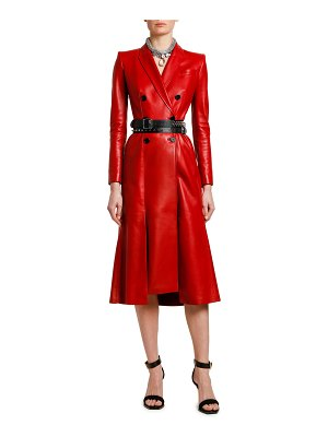 Alexander McQueen Double Breasted Midi Leather Coat