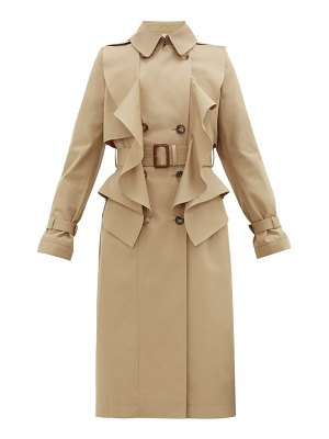 Alexander McQueen double-breasted ruffled gabardine trench coat