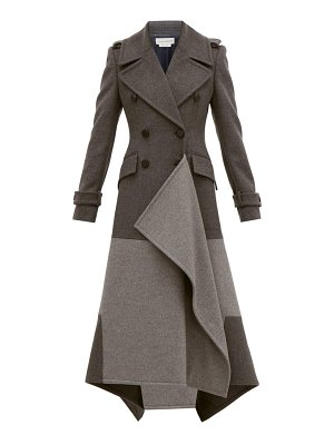 Alexander McQueen draped double breasted wool blend coat