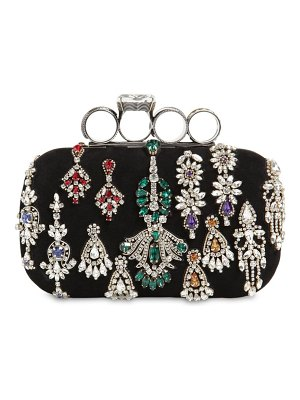 Alexander McQueen Embellished punk four ring suede clutch