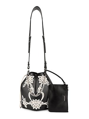 Alexander McQueen embroidered leather bucket bag