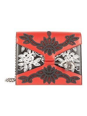 Alexander McQueen embroidered pin leather satchel