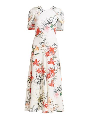 Alexander McQueen endangered floral silk cape-sleeve midi dress