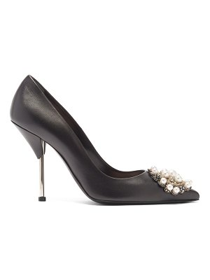 Alexander McQueen faux-pearl embellished leather pumps