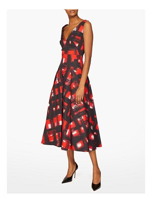 Alexander McQueen flared abstract print cotton poplin midi dress