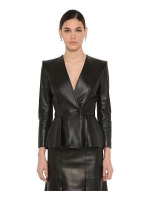Alexander McQueen Flared nappa leather jacket