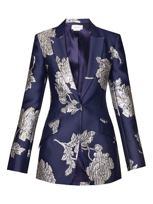 Alexander McQueen floral jacquard single breasted satin blazer