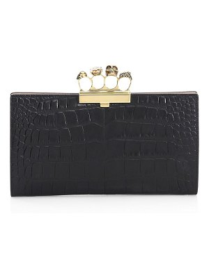 Alexander McQueen four ring croco-embossed leather clutch