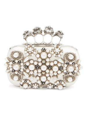 Alexander McQueen four ring embellished satin box clutch