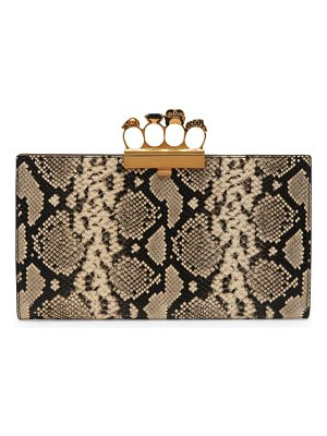 Alexander McQueen four rings snake-print leather clutch