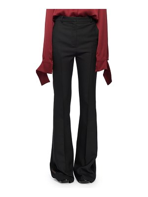 Alexander McQueen High-Waist Narrow Boot-Cut Wool-Blend Tux Trousers