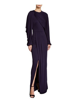 Alexander McQueen Jersey Draped Long-Sleeve Slit Gown
