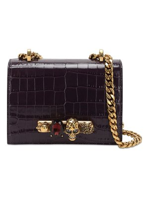 Alexander McQueen Jeweled croc embossed satchel bag