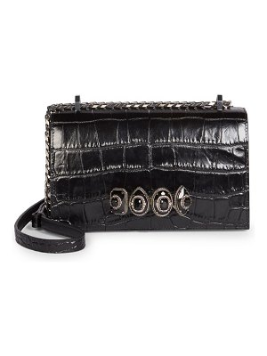 Alexander McQueen jewelled croc-embossed leather satchel