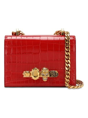 Alexander McQueen Jeweled croc embossed shoulder bag