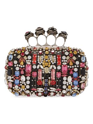 Alexander McQueen Jeweled Four-Ring Embellished Leather Clutch Bag