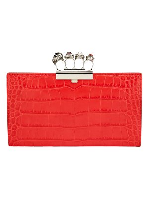 Alexander McQueen Jeweled Knuckle Four-Ring Croc Clutch Bag - Silvertone Hardware