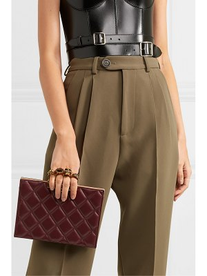 Alexander McQueen knuckle embellished quilted leather clutch