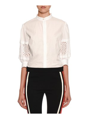 Alexander McQueen Lace-Sleeve Button-Front Blouse