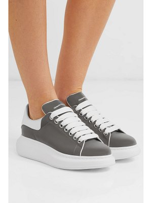 Alexander McQueen leather-trimmed reflective shell exaggerated-sole sneakers