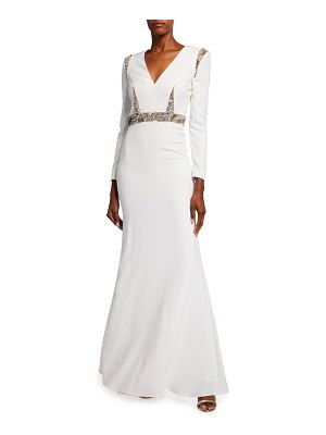 Alexander McQueen Long-Sleeve V-Neck Gown w/ Lace