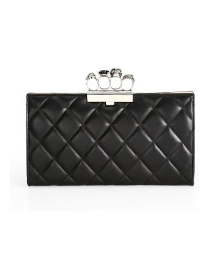 Alexander McQueen matelassé four ring quilted leather knuckle clutch