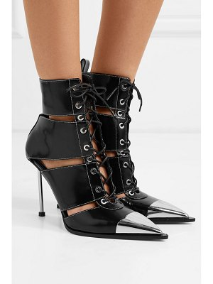 Alexander McQueen metal-trimmed cutout leather ankle boots