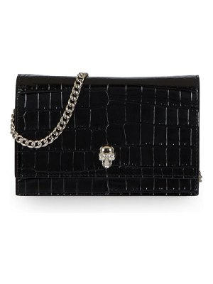 Alexander McQueen mini skull croc-embossed leather crossbody bag