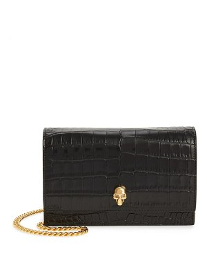 Alexander McQueen mini skull croc embossed leather crossbody bag