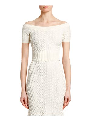 Alexander McQueen Off-the-Shoulder Cropped Cable Knit Sweater