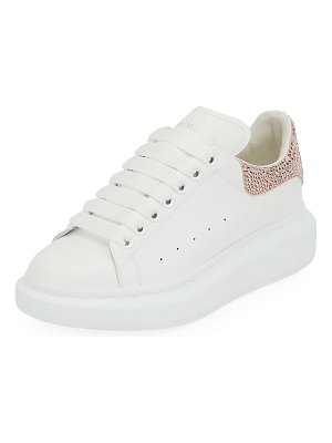 Alexander McQueen Oversized Glitter-Trim Leather Platform Sneakers