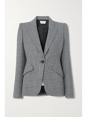 Alexander McQueen prince of wales checked wool and cashmere-blend blazer