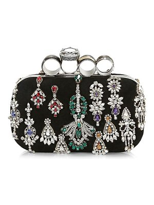 Alexander McQueen punk four-ring jewelled leather box clutch