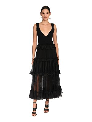 Alexander McQueen Ruffled knit & tulle sleeveless dress