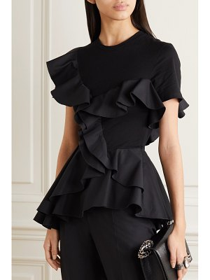 Alexander McQueen ruffled sateen and cotton-jersey peplum t-shirt