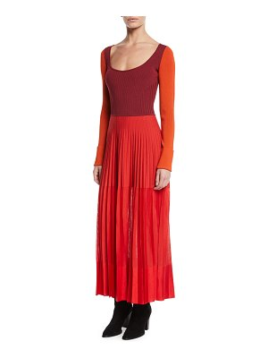 Alexander McQueen Scoop-Neck Long-Sleeve Knit-Bodice Pleated Long Dress