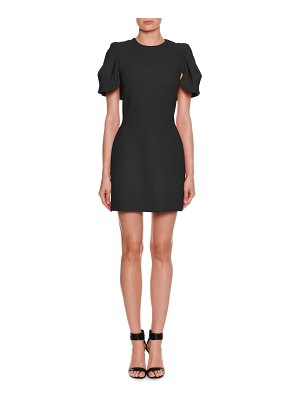 Alexander McQueen Shell-Sleeve Cape-Back Wool/Silk Mini Dress