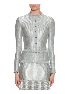 Alexander McQueen Silvertone Ribbed Button-Front Cardigan