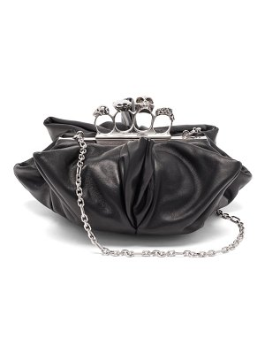 Alexander McQueen skull four-ring flower leather clutch