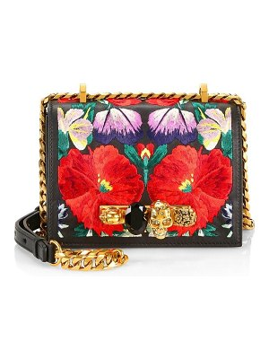 Alexander McQueen small floral embroidered leather satchel
