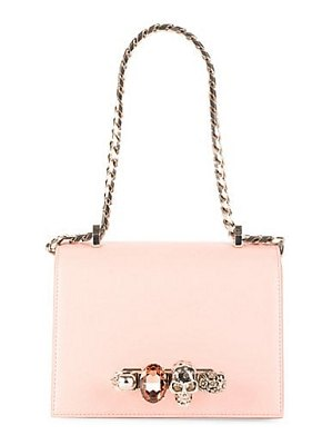 Alexander McQueen small jeweled leather satchel