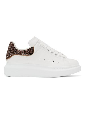 Alexander McQueen ssense exclusive white and pink glitter oversized sneakers