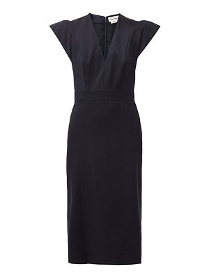 Alexander McQueen structured-sleeve v-neck grain-de-poudre dress
