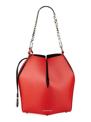 Alexander McQueen The Bucket Shiny Calf Shoulder Bag - Silvertone Hardware