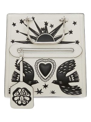 Alexander McQueen the short story graphic leather satchel