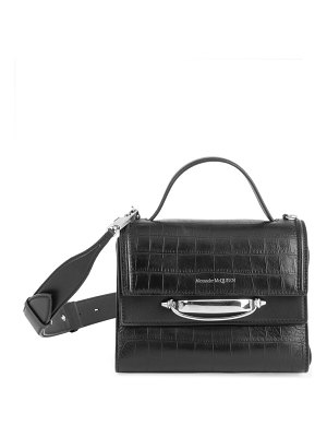 Alexander McQueen the story croc-embossed leather satchel