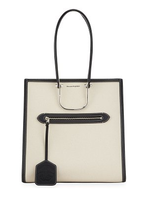 Alexander McQueen The Tall Story Canvas/Leather Tote Bag