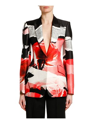 Alexander McQueen Torn Rose Collage Wool-Silk Blazer